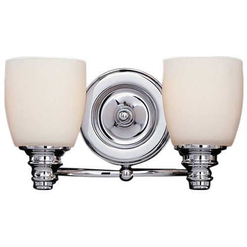 Feiss Lighting Bathroom Light with White Glass in Chrome Finish VS7402-CH