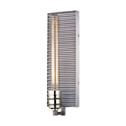 Elk Lighting Elk Lighting Corrugated Steel Weathered Zinc, Polished Nickel Sconce 15921/1