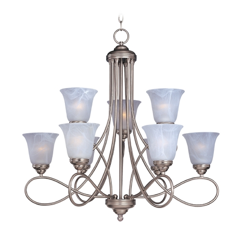 Maxim Lighting Chandelier with White Glass in Satin Nickel Finish 11046MRSN