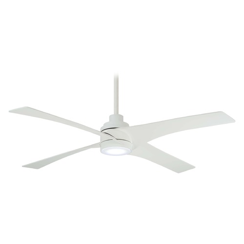 Minka Aire 56-Inch Minka Aire Swept Flat White LED Ceiling Fan with Light F543L-WHF