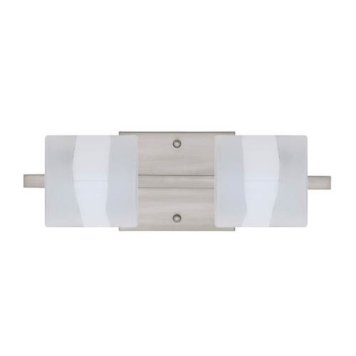 Besa Lighting Modern Bathroom Light with White Glass in Satin Nickel Finish 2WS-787399-SN