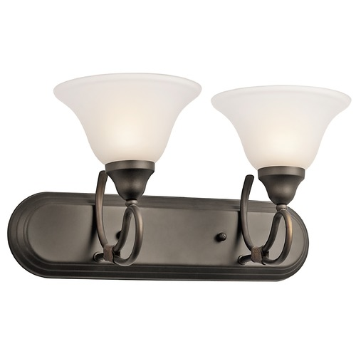 Kichler Lighting Kichler Bathroom Light with White Glass in Olde Bronze Finish 5557OZ
