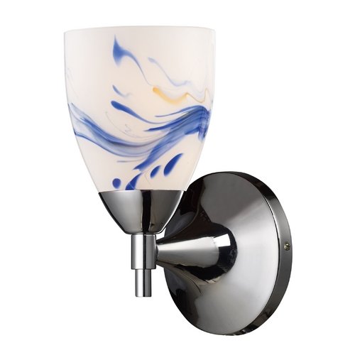 Elk Lighting Sconce Wall Light with Art Glass in Polished Chrome Finish 10150/1PC-MT