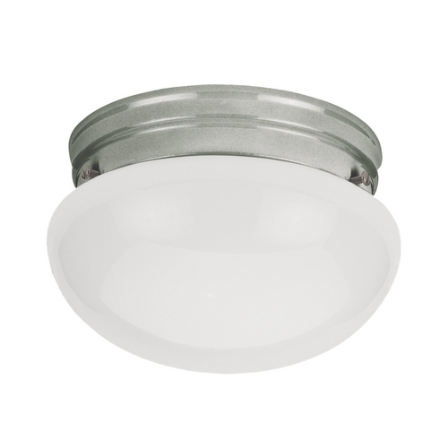 Sea Gull Lighting Flushmount Light with White Glass in Brushed Nickel Finish 5326-962