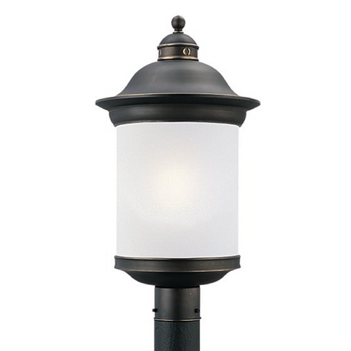 Sea Gull Lighting Post Light with White Glass in Antique Bronze Finish 89298BL-71