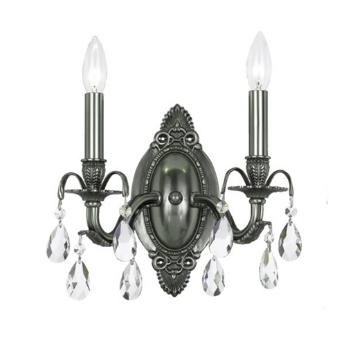 Crystorama Lighting Crystal Sconce Wall Light in Pewter Finish 5562-PW-CL-MWP