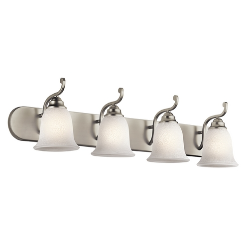 Kichler Lighting Kichler Bathroom Light with White Glass in Brushed Nickel Finish 45424NI