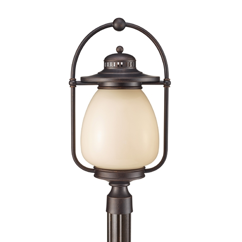 Feiss Lighting Post Light with Beige / Cream Glass in Grecian Bronze Finish OLPL7508GBZ