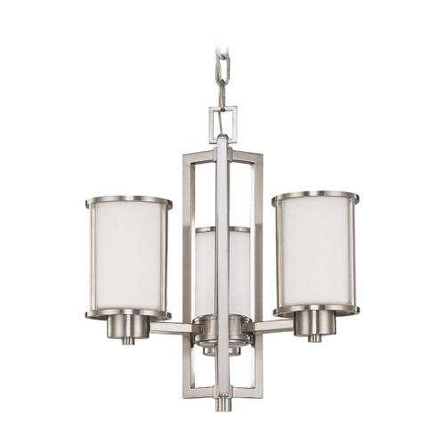 Nuvo Lighting Mini-Chandelier with White Glass in Brushed Nickel Finish 60/3805