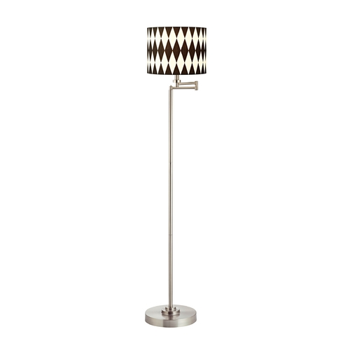 Design Classics Lighting Swing Arm Floor Lamp with Harlequin Drum Lamp Shade 1901-09 SH9491