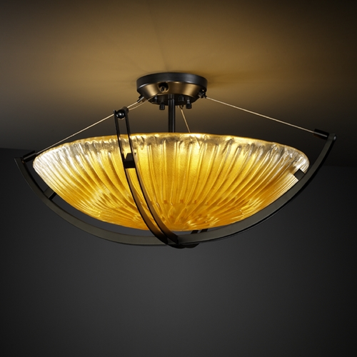 Justice Design Group Justice Design Group Veneto Luce Collection Semi-Flushmount Light GLA-9712-35-GLDC-MBLK