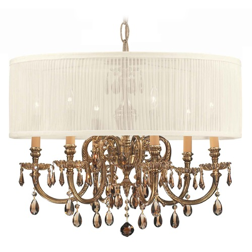 Crystorama Lighting Crystorama Lighting Brentwood Olde Brass Pendant Light with Drum Shade 2916-OB-SAW-GTM