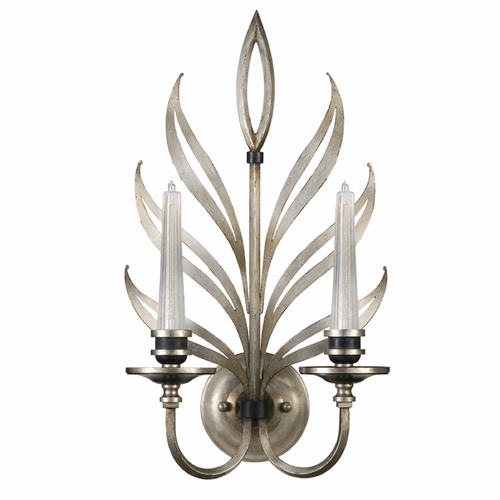 Fine Art Lamps Fine Art Lamps Villandry Silver Antique Silver Leaf with Black Sconce 814650ST