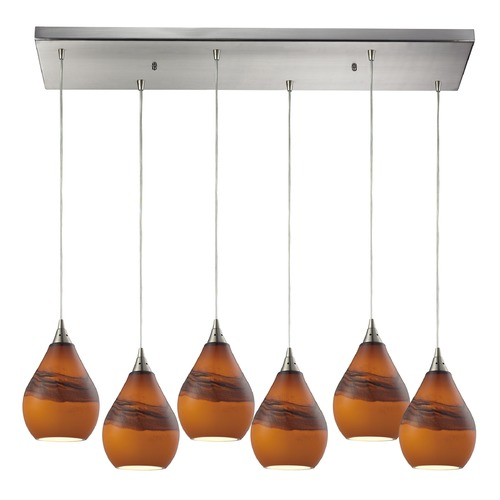 Elk Lighting Elk Lighting Dunes Satin Nickel Multi-Light Pendant with Bowl / Dome Shade 31617/6RC