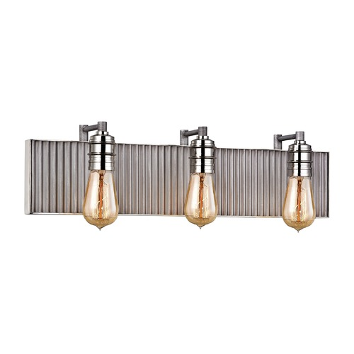 Elk Lighting Elk Lighting Corrugated Steel Weathered Zinc, Polished Nickel Bathroom Light 15922/3