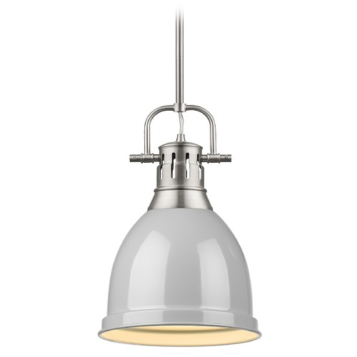 Golden Lighting Golden Lighting Duncan Pewter Mini-Pendant Light with Grey Shade 3604-SPW-GY