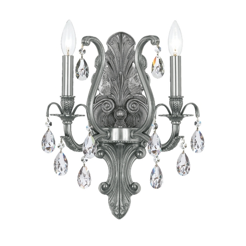 Crystorama Lighting Crystal Sconce Wall Light in Pewter Finish 5563-PW-CL-MWP