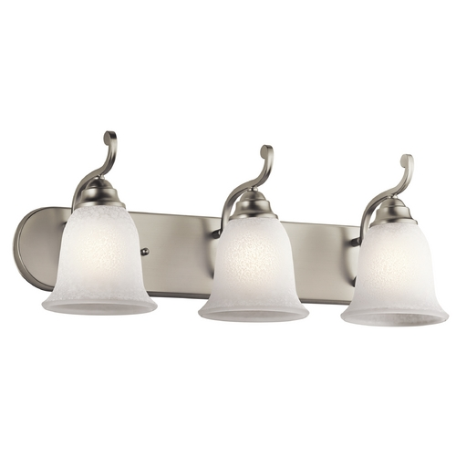 Kichler Lighting Kichler Bathroom Light with White Glass in Brushed Nickel Finish 45423NI