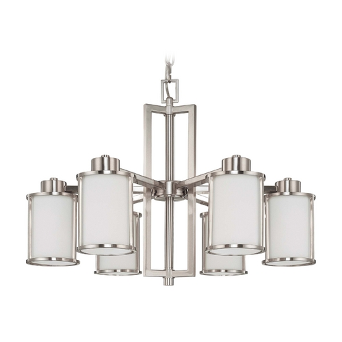 Nuvo Lighting Chandelier with White Glass in Brushed Nickel Finish 60/3806