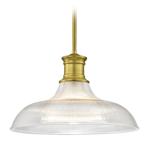 Design Classics Lighting Industrial Brass Pendant Light Prismatic Glass 15.38-Inch Wide 1761-12 G1782-FC