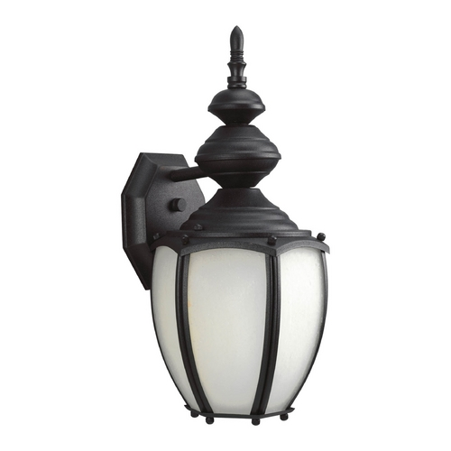Progress Lighting Outdoor Wall Light with White Glass in Textured Black Finish P5770-31