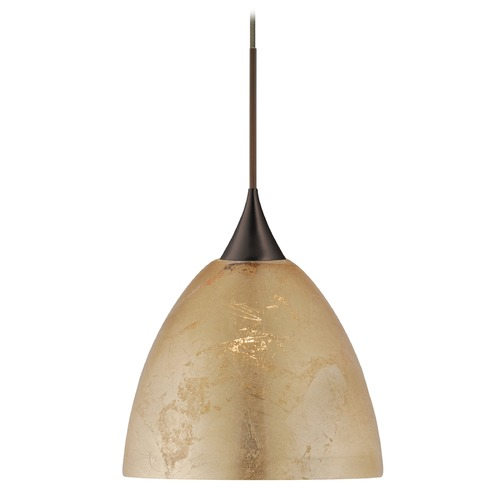 Besa Lighting Besa Lighting Sasha Bronze Pendant Light with Bell Shade 1XT-7570GF-BR