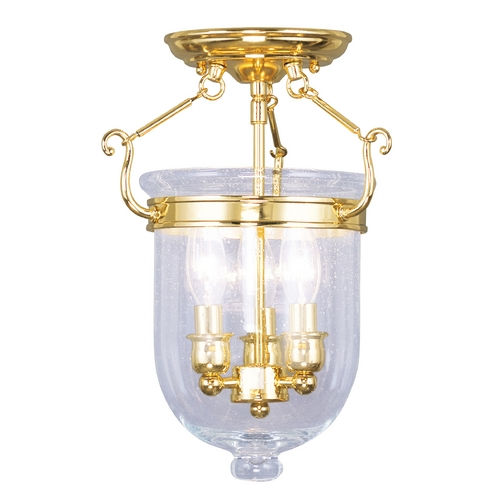 Livex Lighting Seeded Glass Semi-Flushmount Light Brass Livex Lighting 5081-02