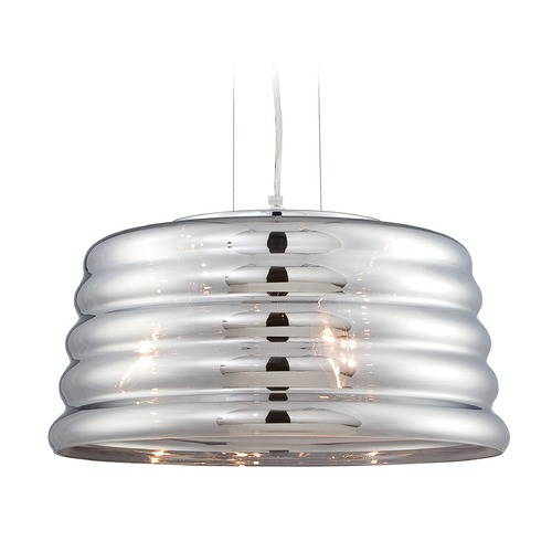 Lite Source Lighting Lite Source Venice Chrome Pendant Light with Drum Shade EL-10135