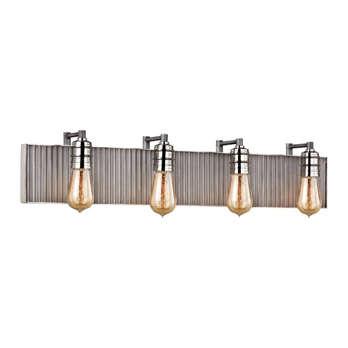 Elk Lighting Elk Lighting Corrugated Steel Weathered Zinc, Polished Nickel Bathroom Light 15923/4