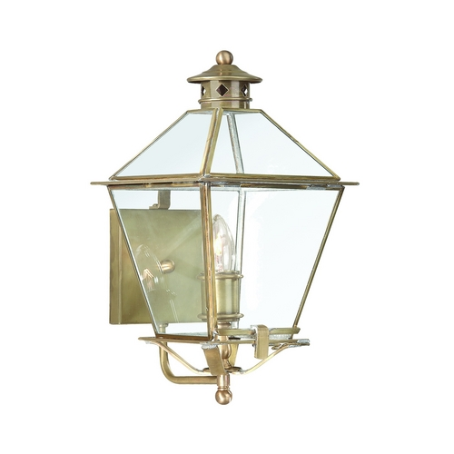 Troy Lighting Outdoor Wall Light with Clear Glass in Natural Aged Brass Finish B8951NAB