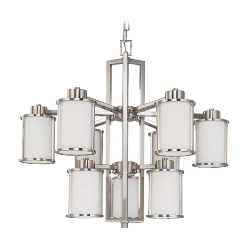 Nuvo Lighting Chandelier with White Glass in Brushed Nickel Finish 60/3809
