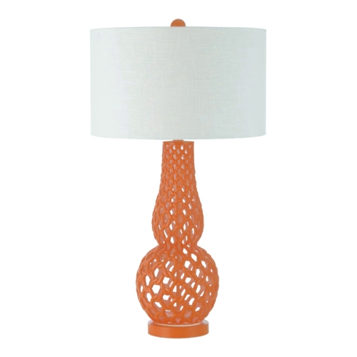 AF Lighting Orange Table Lamp with White Drum Shade 8486-TL