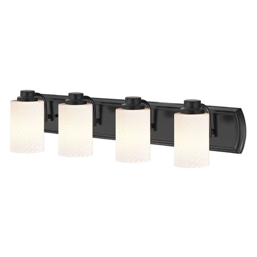 Design Classics Lighting 4-Light Vanity Light in Bronze with White Cylinder Art Glass 1204-36 GL1020C