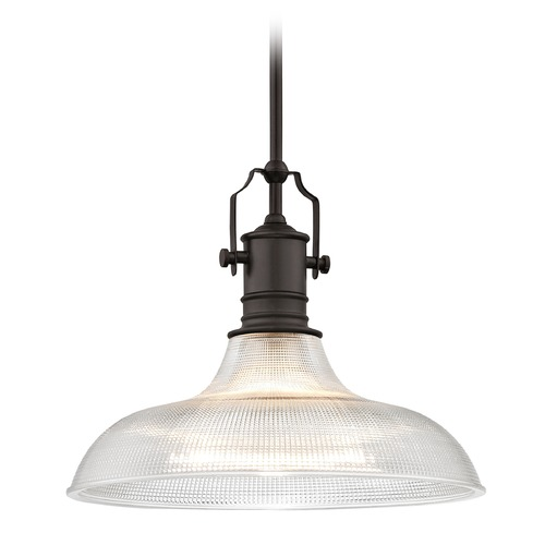 Design Classics Lighting Industrial Prismatic Pendant Light Bronze 15.38-Inch Wide 1765-220 G1782-FC