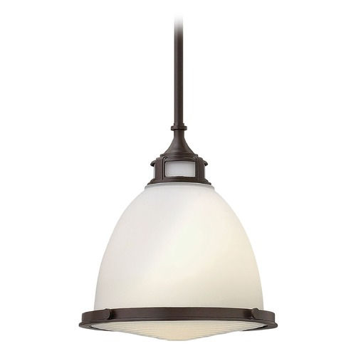 Hinkley Lighting Pendant Light with White Glass in Buckeye Bronze Finish 3124KZ