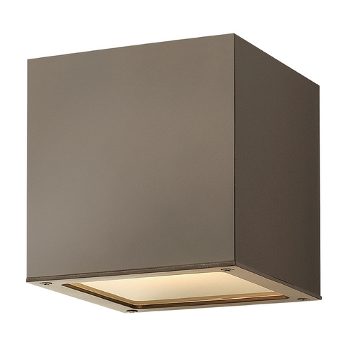 Hinkley Lighting Modern Outdoor Wall Light with White Glass in Bronze Finish 1766BZ-GU24