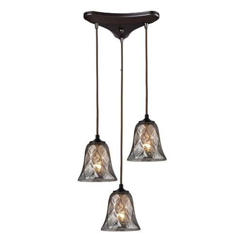 Elk Lighting Multi-Light Pendant Light with Brown Glass and 3-Lights 46000/3