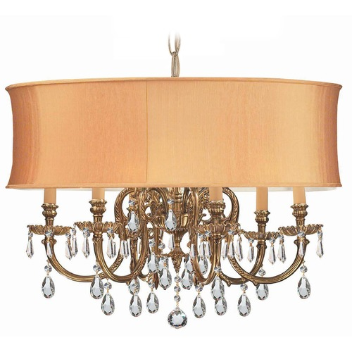 Crystorama Lighting Crystorama Lighting Brentwood Olde Brass Pendant Light with Drum Shade 2916-OB-SHG-CLQ