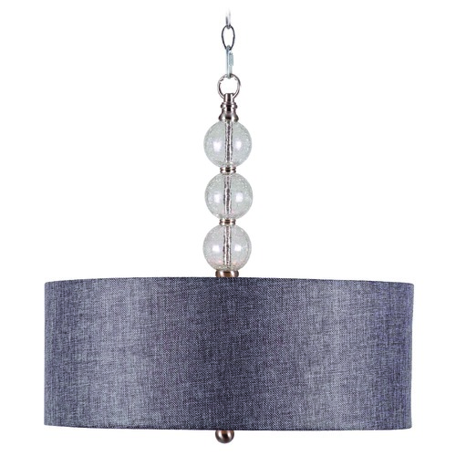 Kenroy Home Lighting Kenroy Home Lighting Maya Brushed Steel with Clear Crackle Pendant Light with Drum Shade 93313BS