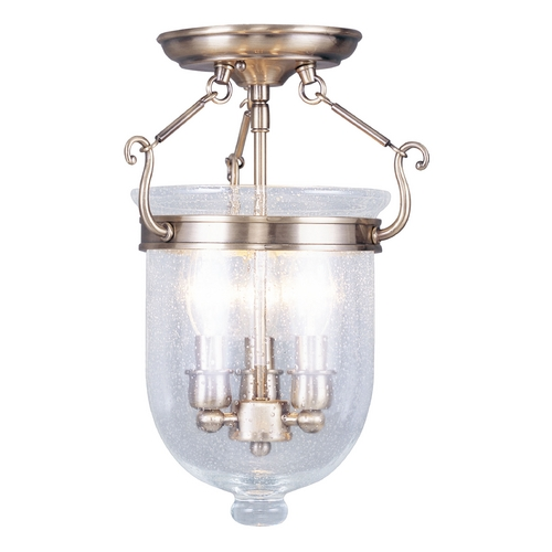 Livex Lighting Livex Lighting Jefferson Antique Brass Semi-Flushmount Light 5081-01