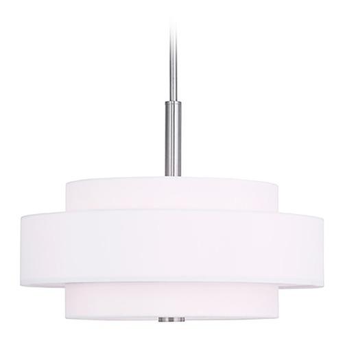 Livex Lighting Livex Lighting Meridian Brushed Nickel Pendant Light with Drum Shade 50874-91