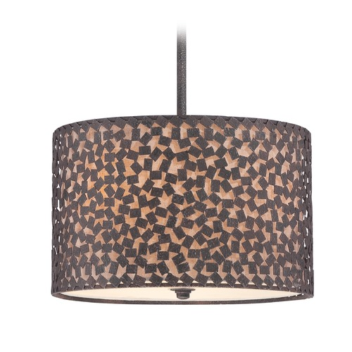 Quoizel Lighting Quoizel Lighting Confetti Rustic Black Pendant Light with Drum Shade CKCF2816RK