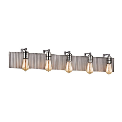 Elk Lighting Elk Lighting Corrugated Steel Weathered Zinc, Polished Nickel Bathroom Light 15924/5