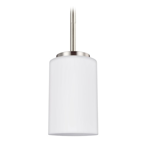 Sea Gull Lighting Sea Gull Lighting Oslo Brushed Nickel Mini-Pendant Light with Cylindrical Shade 61160-962