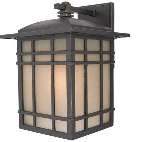 Quoizel Lighting Outdoor Wall Light with Amber Glass in Imperial Bronze Finish HC8409IBFL