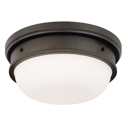 Hudson Valley Lighting Flushmount Light with White Glass in Old Bronze Finish 3322-OB