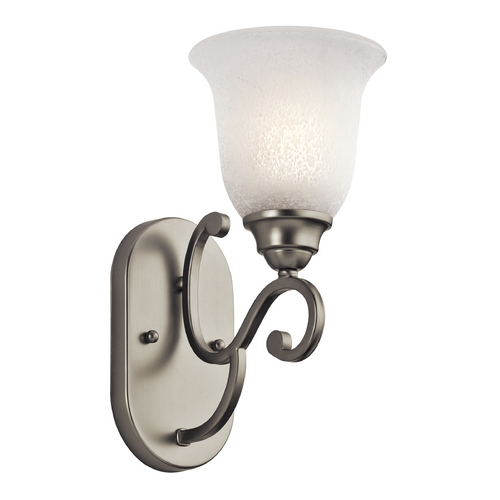 Kichler Lighting Kichler Sconce Wall Light with White Glass in Brushed Nickel Finish 45421NI