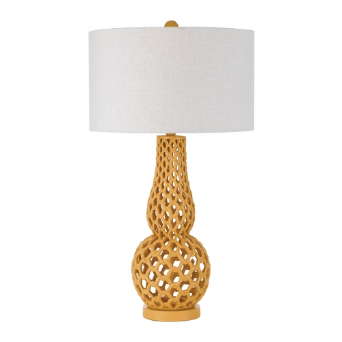 AF Lighting Table Lamp with White Shade in Yellow Finish 8487-TL