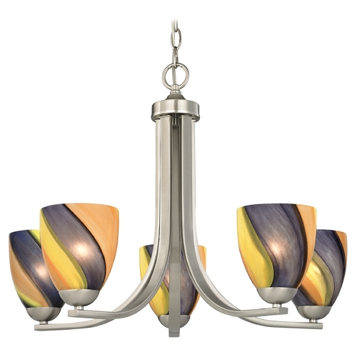 Design Classics Lighting Chandelier with Art Glass in Satin Nickel Finish 584-09 GL1015MB