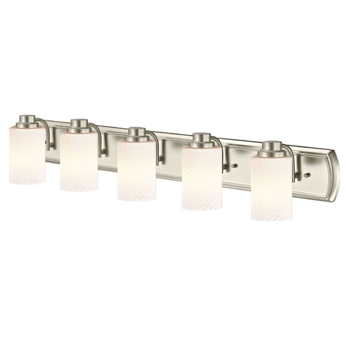 Design Classics Lighting 5-Light Bath Bar in Satin Nickel with White Cylinder Art Glass 1205-09 GL1020C